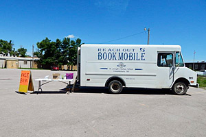 The bookmobile set up shop in 32 South Dakota communities, stopping at lunch programs, parks and churches.