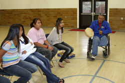 St. Joseph's students learn Lakota games.