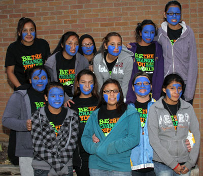 Students painted their faces blue for Red Ribbon Week.