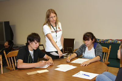 Shana working with Lakota students.