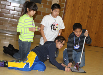 Lakota students launch their rocket they learned to make.