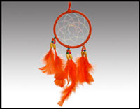 "Click here for more information about 4"" Orange Rawhide Dreamcatcher"