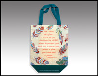 Click here for more information about Turquoise and Tan  Feather Tote - (010014)