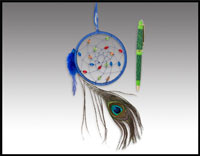 "Click here for more information about 4"" Peacock Dreamcatcher & Pen"