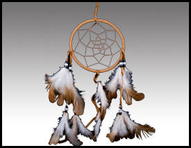 Native American inspired: 4 Inch Rawhide Dreamcatcher