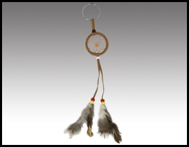 Native American inspired: Rawhide Dreamcatcher Keychain