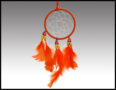 Native American inspired: 4 Inch Orange Dreamcatcher.