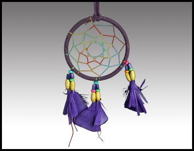 Native American inspired: 4 Inch Purple Dreamcatcher.