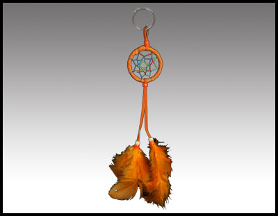 Native American inspired: Orange Rawhide Dreamcatcher Keychain.