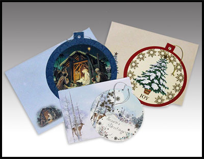Six unique Christmas cards.