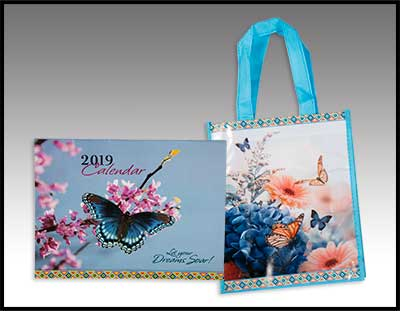2019 Butterfly Calendar w/Matching Gift Bag