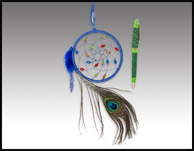 "Native American inspired: 4"" dreamcatcher with peacock feathers and pen"
