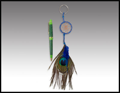 Native American inspired: Blue Dreamcatcher Keychain & Pen