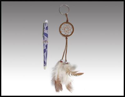 Rawhide Dreamcatcher Keychain with Pen