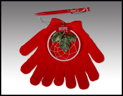 Winter Gloves with Pen and Hope Dreamcatcher