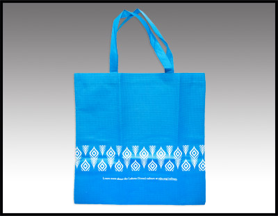 Blue Woven Tote Bag
