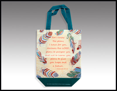 Turquoise and Tan  Feather Tote